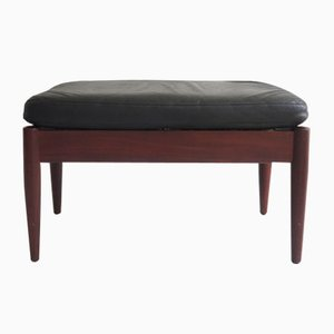 Danish Teak and Leather Footstool, 1950s