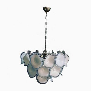Light BLue Lavender Murano Glass Disc Chandelier by Gino Vistosi for Murano, 1970s