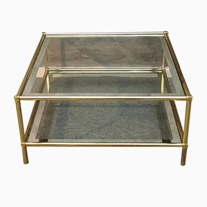 Brass Living Room Coffee Table with 2 Glass Shelves, Italy, 1960s