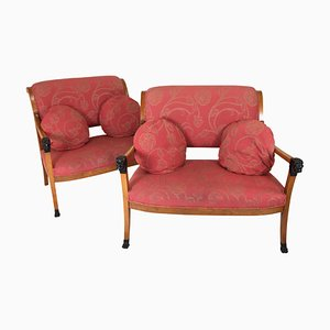 Small 19th Century Biedermeier Sofas, Set of 2