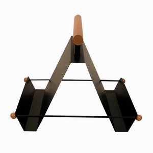 Magazine Rack in Iron and Wood, Italy, 1980s