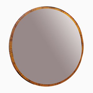 Round Mirror in Wood and Bronze Glass, Italy, 1970s