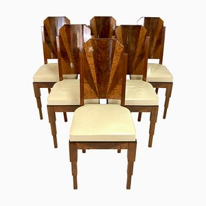 Art Deco French Dining Chairs, Set of 6
