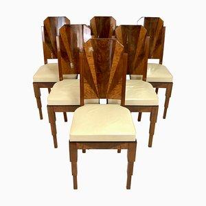 Französische Art Deco Esszimmerstühle, 6er Set