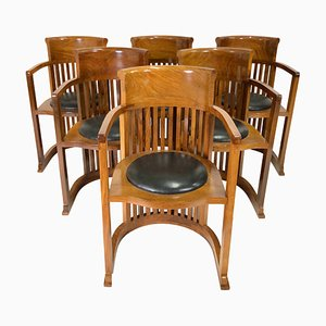 Vintage Model Barrel Armchairs by Frank Lloyd Wright, Set of 6