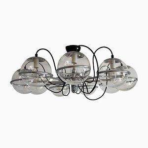 Lámpara de araña italiana Mid-Century de metal cromado con nueve globos de vidrio de Gino Sarfatti para Arteluce, años 60