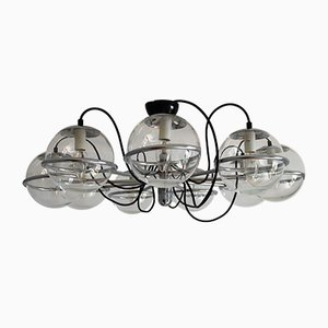 Mid-Century Italian Chrome Chandelier with 9 Glass Globes by Gino Sarfatti for Arteluce, 1960s