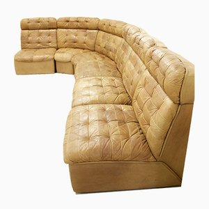 Mid-Century Cognac Leather Modular Sofa from de Sede, 1970s
