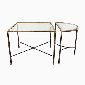 Vintage Brass Coffee Tables in Bamboo Style, 1970s, Set of 2