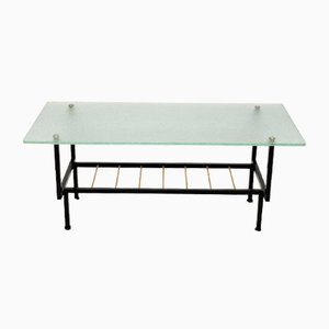 Vintage French Glass & Steel Coffee Table, 1960s