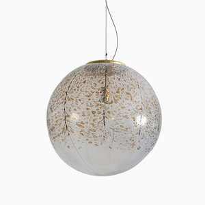 Vintage Glass and Brass Ball Ceiling Lamp from Murano, 1970s