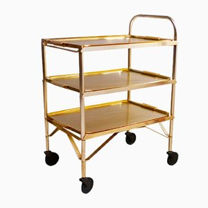 Mid-Century Gold Serving Bar Cart, 1950s