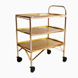 Mid-Century Gold Serving Bar Cart, 1950s