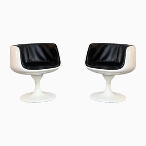 Vintage Space Age White Plastic and Black Vinyl Lounge Chairs by Eero Aarnio, 1970s, Set of 2