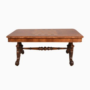 Antique Burl Walnut Chess Top Coffee Table