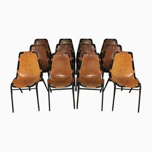 Leather Les Arcs Chairs by Charlotte Perriand for Cassina, 1970s, Set of 12