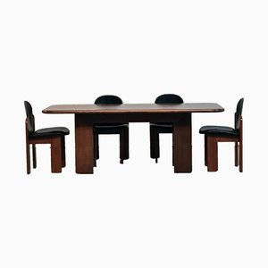 Italian Leather and Stained Beech Dining Chairs and Table Set by Silvio Coppola for Bernini, 1960s