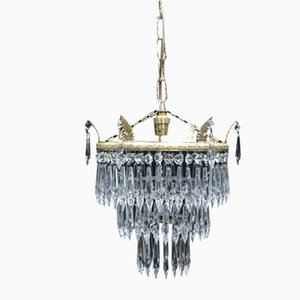 Art Deco Italian 3-Tier Crystal Glass Chandelier, 1930s