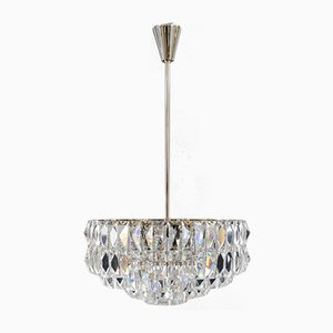 Nickel-Plated Crystal Chandelier from Bakalowits & Söhne, 1960s