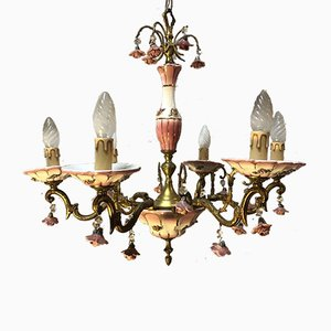 Art Deco Bronze and Porcelain Chandelier, 1920s