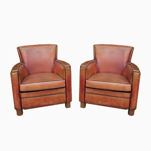 Vintage Leather Lounge Chairs, 1950s, Set of 2