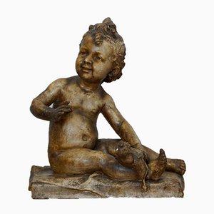 Antike Plaster Sitting Child Skulptur, 1900er