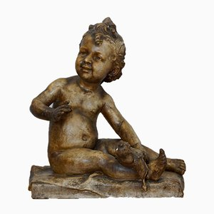 Antique Plaster Sitting Child Sculpture, 1900s