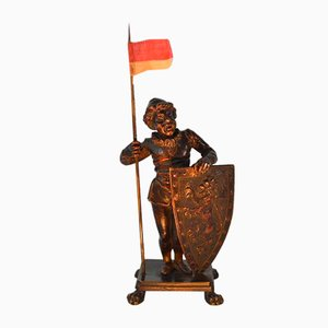 Antique Bronze Medieval Man Holding Flag Sculpture