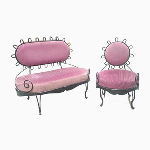 Mid-Century Eisen Gartensessel und Sofa Set