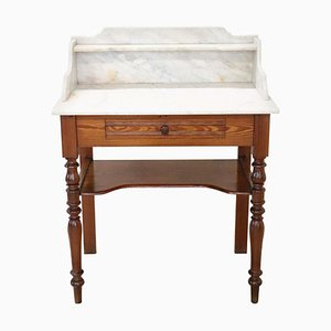 Antique Coffee Table with Marble Top, 1880s
