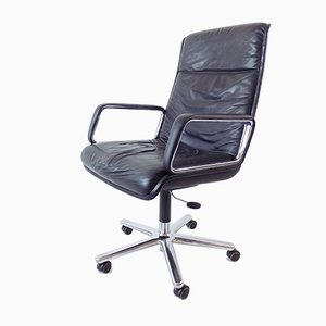 Black Leather Model Delta 2000 Desk Chair by Delta Design for Wilkhahn, 1960s