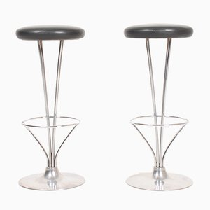 Mid-Century Patinated Leather Barstools by Piet Hein for Fritz Hansen, 1960s, Set of 2