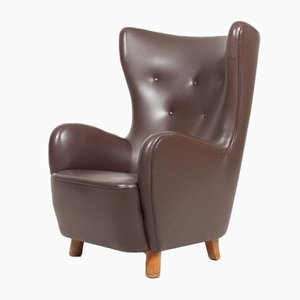 Danish Modern Patinated Saddle Brown Leather Lounge Chair, 1940s