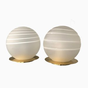 Brass and Murano Glass Table Lamps by Angelo Brotto for Esperia, 1970s, Set of 2