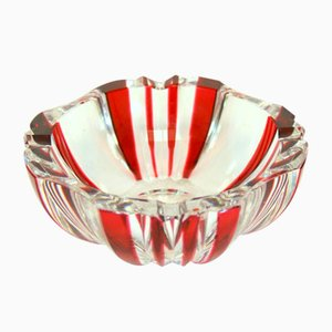 Bent and Carved Glass Ashtray by Charles Graffart for Val Saint Lambert, 1930s