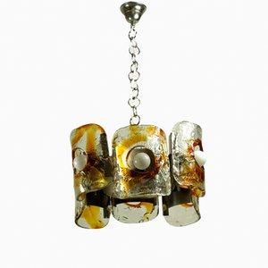 Lampada a sospensione grande vintage fatta a mano con placche in metallo cromato di Mazzega