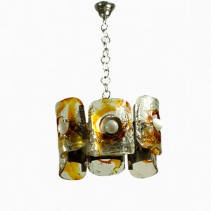 Lámpara colgante vintage grande hecha a mano con placas cromadas de Mazzega