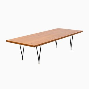 Mid-Century Teak Coffee Table with Metal Legs, 1960s