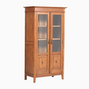 Art Nouveau Arts & Crafts Oak and Beveled Glass Bookcase, 1900s