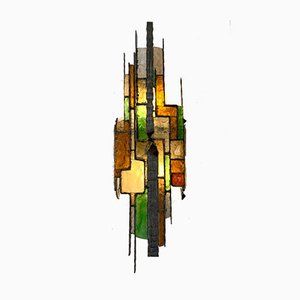 Large Italian Hammered Glass Sconce from Longobard, 1970s