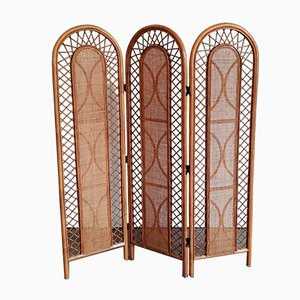 Rattan Room Divider or Folding Screen, 1970s