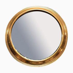 Kleiner runder Spiegel mit Messingrahmen, 1960er
