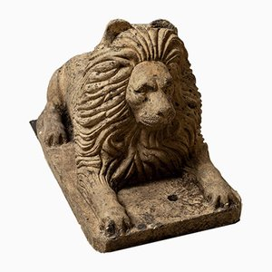 Löwe Figur aus Terrakotta, 19. Jh