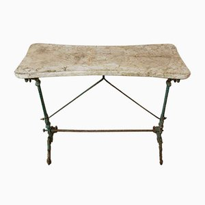 19th Century Cast Iron Garden Table with Marble Top