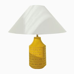 Swedish Mustard Colored Ceramic Table Lamp, 1960s