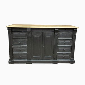 Antique Black Patinated Pinewood Buffet, 1900s