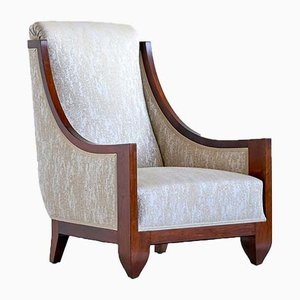 Art Deco French Walnut and Dotted Jacquard Armchair by André Sornay, 1920s