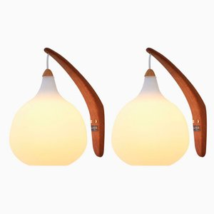 Scandinavian Modern Opaline Glass and Oak Sconces by Uno & Östen Kristiansson for Luxus, 1952, Set of 2