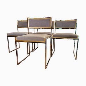 Mid-Century Italian Brass and Chrome Dining Chairs by Willy Rizzo, Set of 4