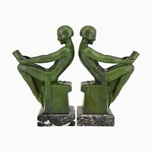 Art Deco French Reading Nudes Bookends from Max Le Verrier, 1930s, Set of 2